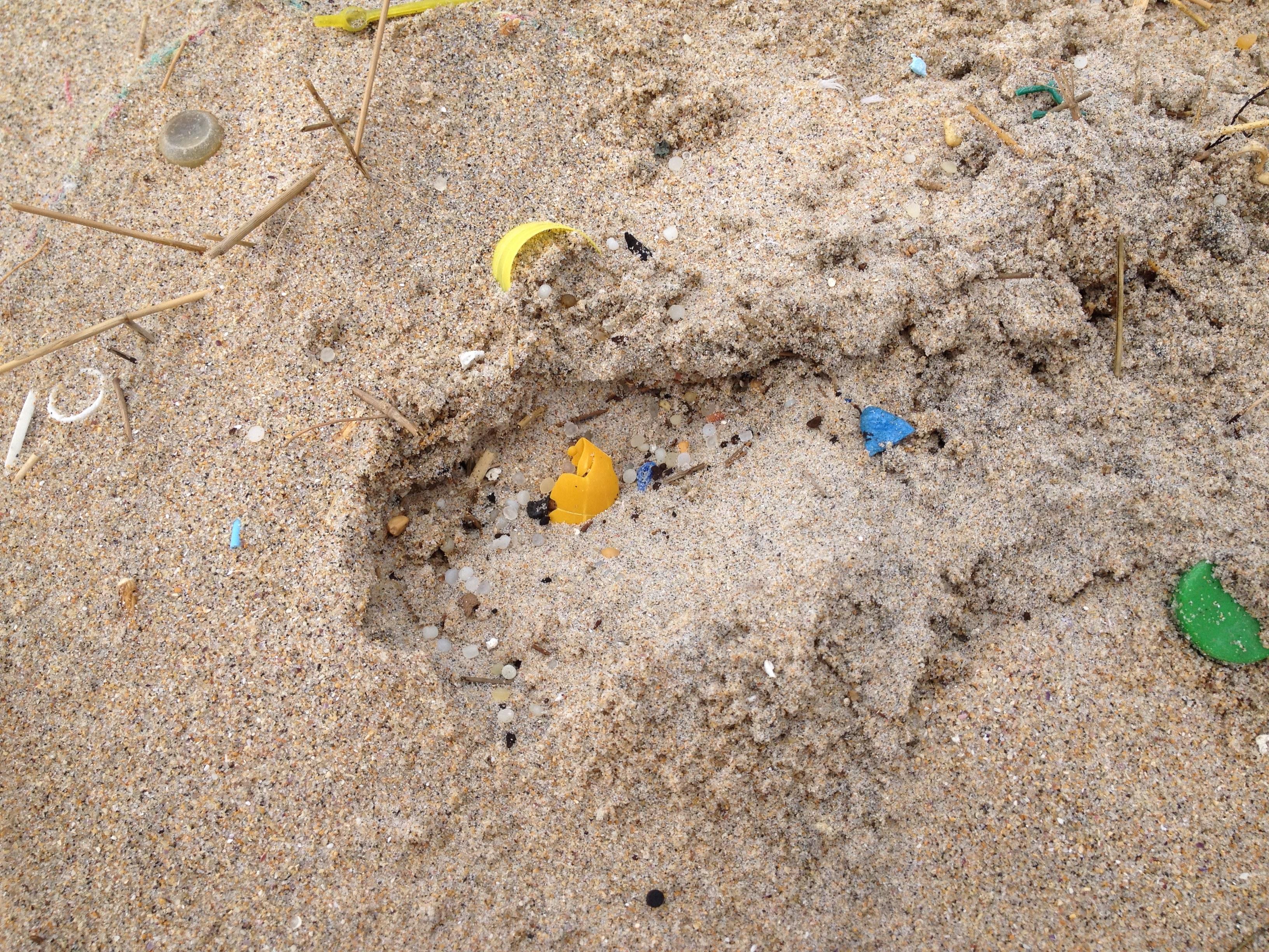 Area e plásticos na Praia de Doniños