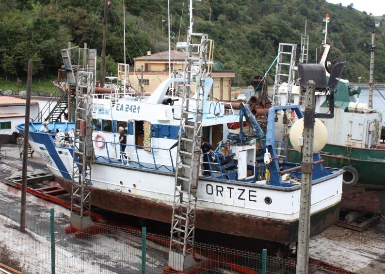 Buque Ortze en carro varadero Astilleros Arostegui de Orio. Fonte: ortze-cv.com