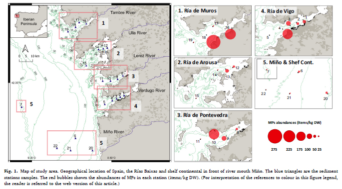 Distribución de microplasticos nas rias baixas. Fonte: Carretero et all 2020