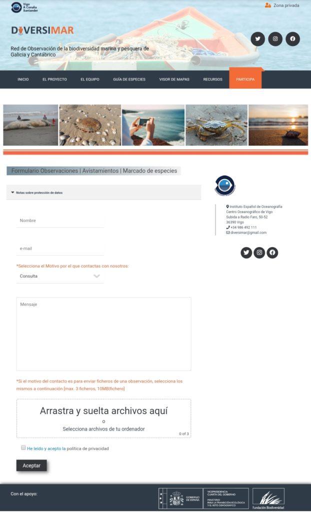 Formulario web de Diversimar