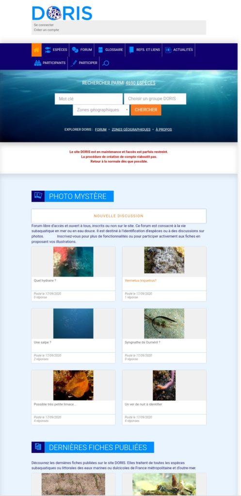 Páxina principal da web de DORIS