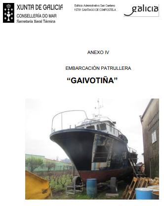 Portada do informe de abandono do Gaivotiña. Fonte: mar.xunta.gal