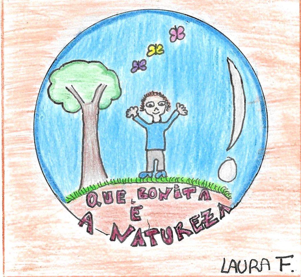 Educación ambiental debuxo neno pegatina 1