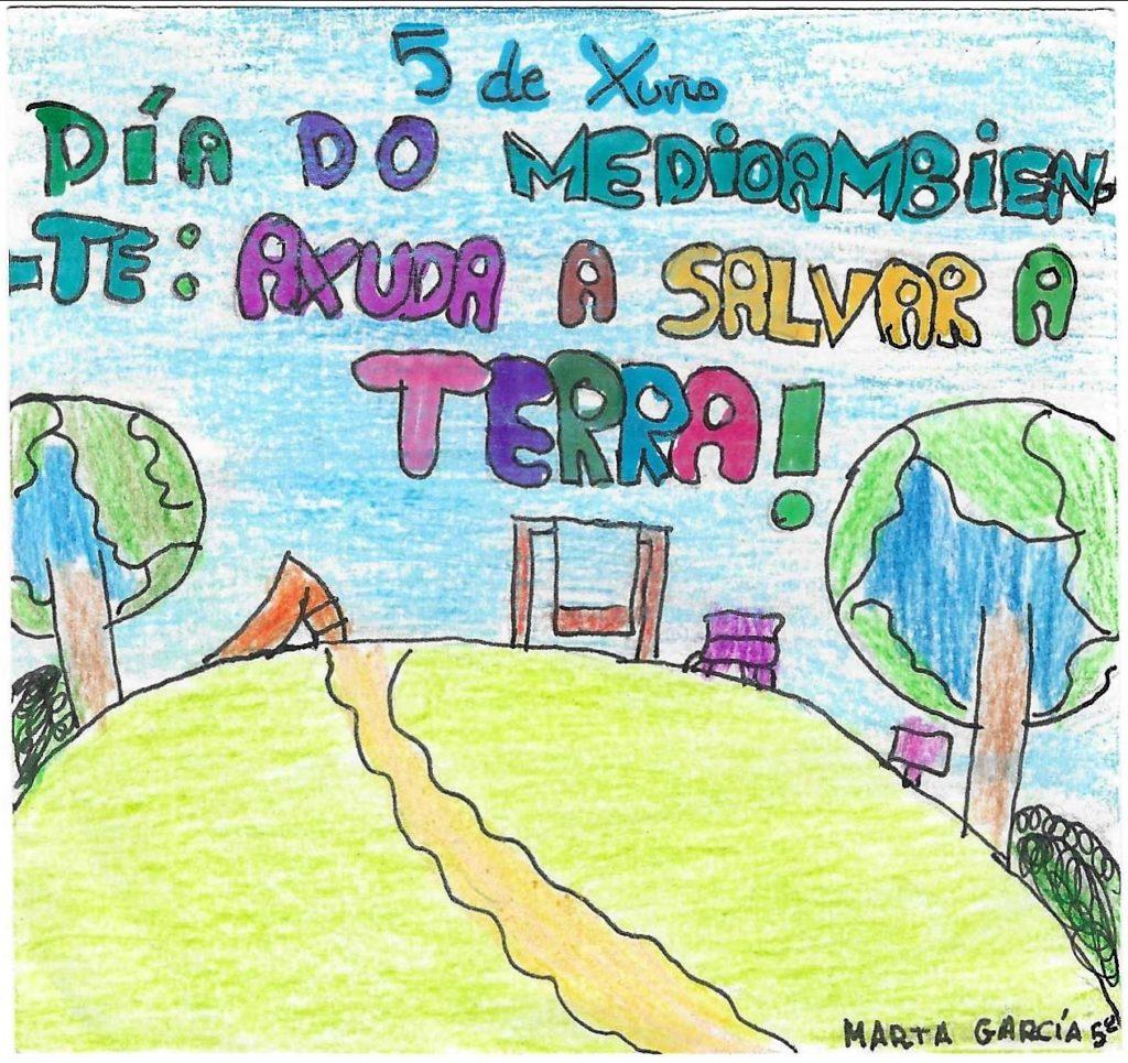 Educación ambiental debuxo neno pegatina 2