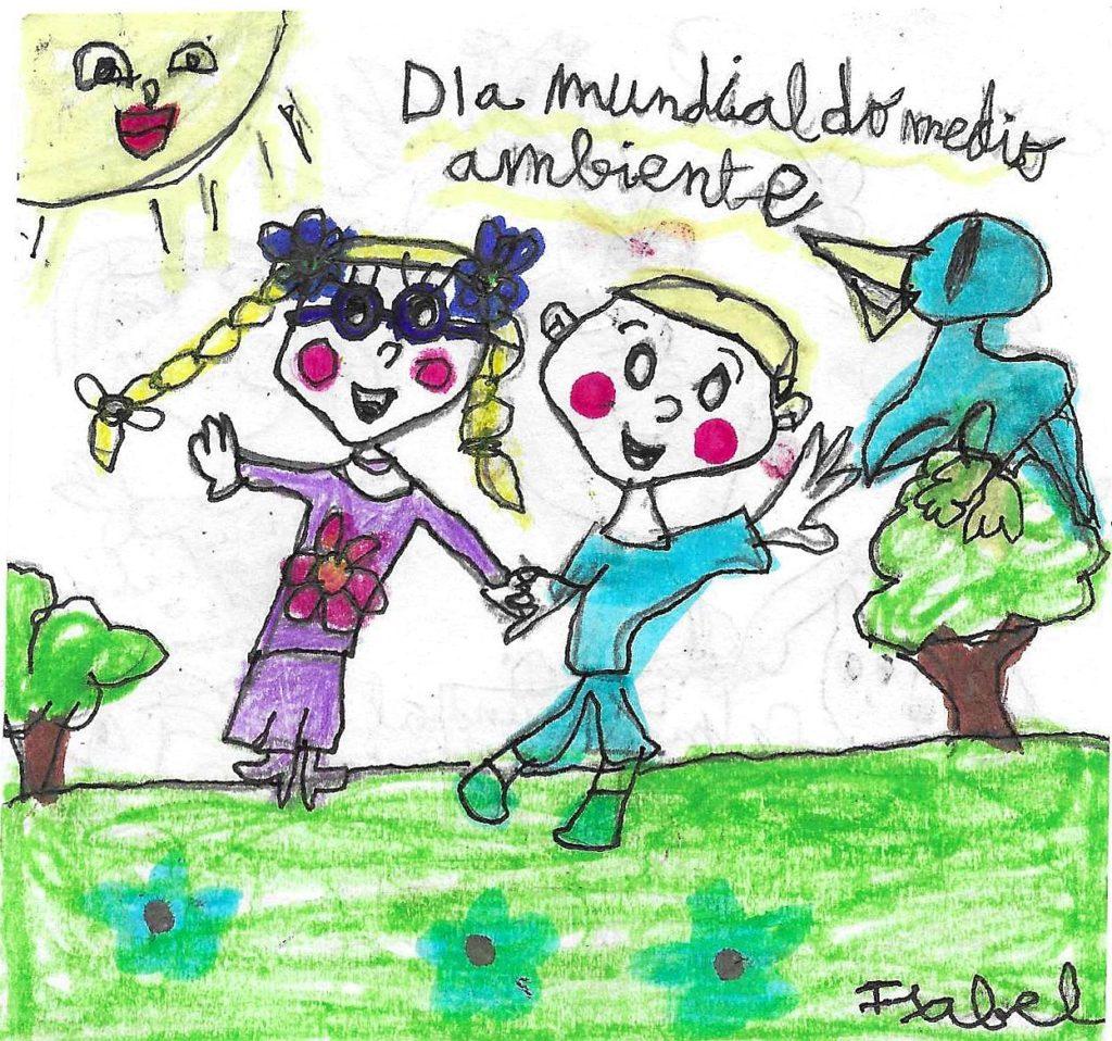 Educación ambiental debuxo neno pegatina 3