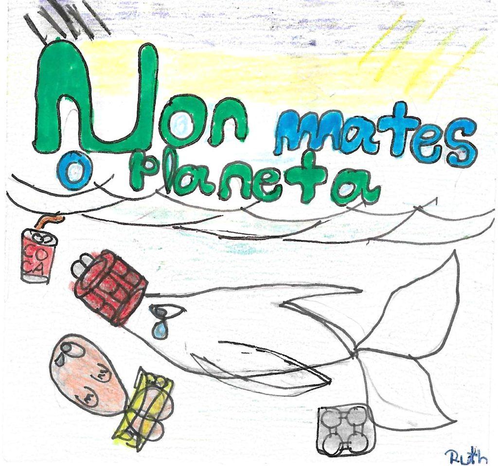 Educación ambiental debuxo neno pegatina 4